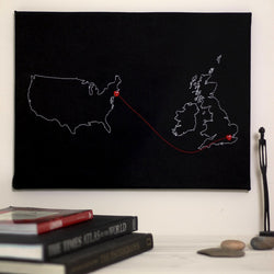 Personalised map notice board - two country
