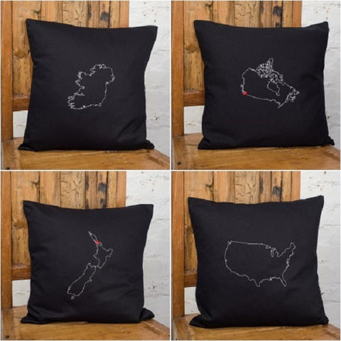 4 Personalised maps cushion covers
