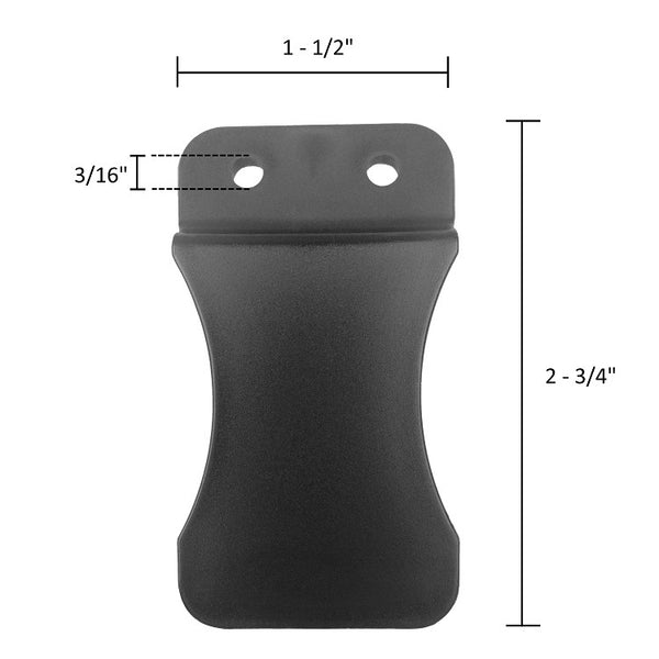 Quick Clip Kydex Fold Over Poly Universal Knife Sheath or Gun Holster Clip - Flush Mount w/holes (FOMI)