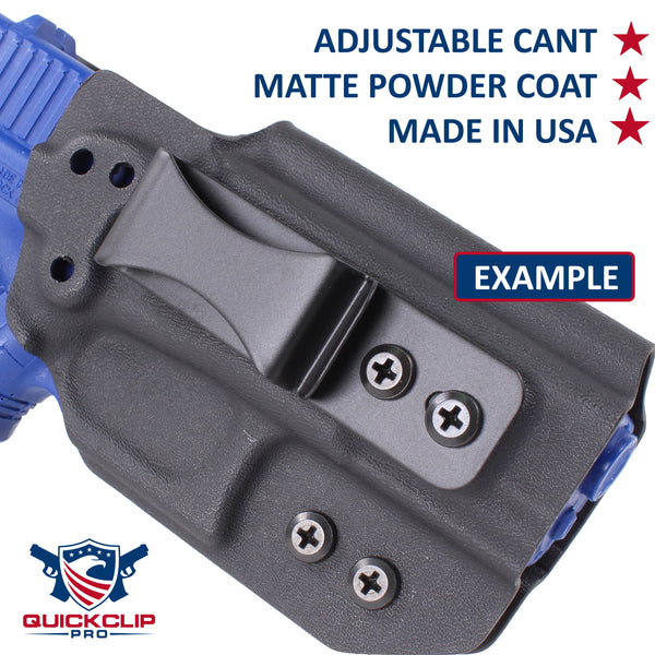 Dual Slot/Hole Hybrid Designer Spring Steel Belt Gun or Knife Clip for Kydex IWB/Tuckable Holsters