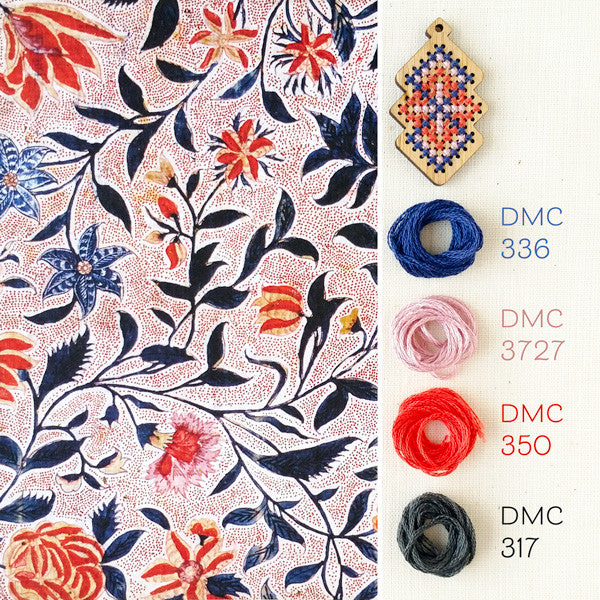Cross stitch color: A palette inspired by block-printed fabric