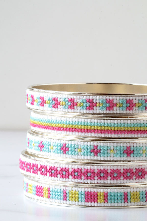 New cross stitch bangle bracelet kits in yummy colors
