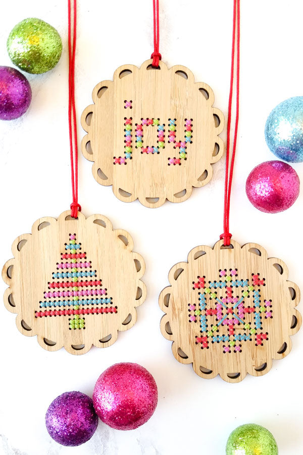 Merry and bright cross stitch ornament kits by Red Gate Stitchery