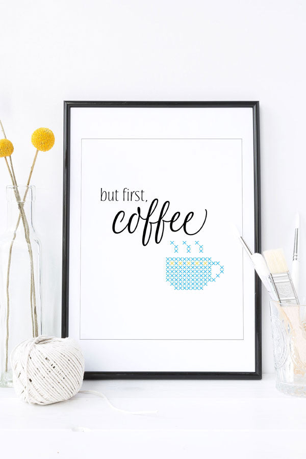 Cross stitch wall art But First Coffee