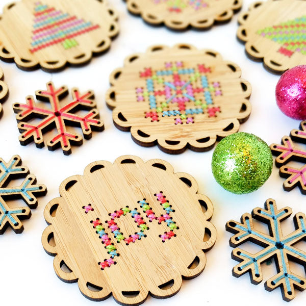 DIY holiday ornaments - cross stitch kit by Red Gate Stitchery