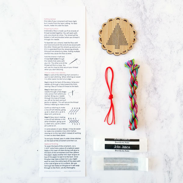 Wood cross stitch ornament kit by Red Gate Stitchery