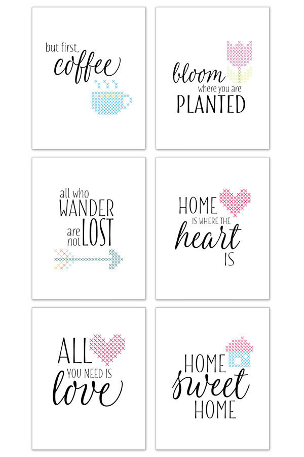 Cross stitch quote art prints