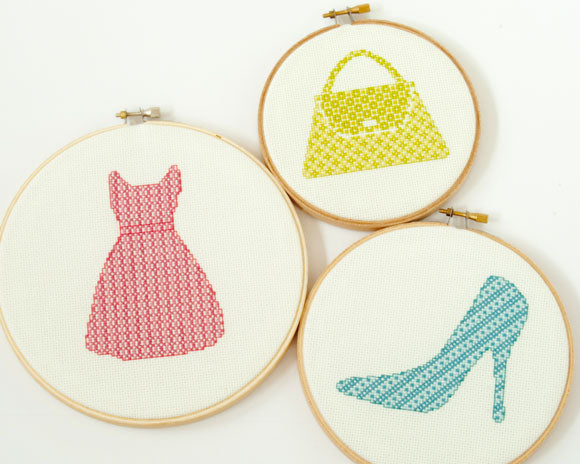 Modern cross stitch pattern - retro pink dress, lime green purse, blue pump shoe
