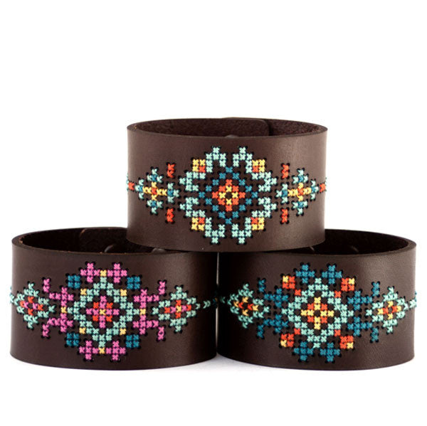 Cross Stitch Leather Bracelet Kit - Wide