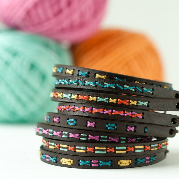 Hand Stitched Leather Bracelet Kit - Super Skinny