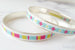 Sterling silver stitched bangle bracelets - Raspberry