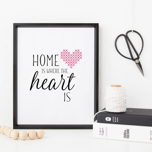 Stitchable Cross Stitch Art Print - Home Is Where the Heart Is