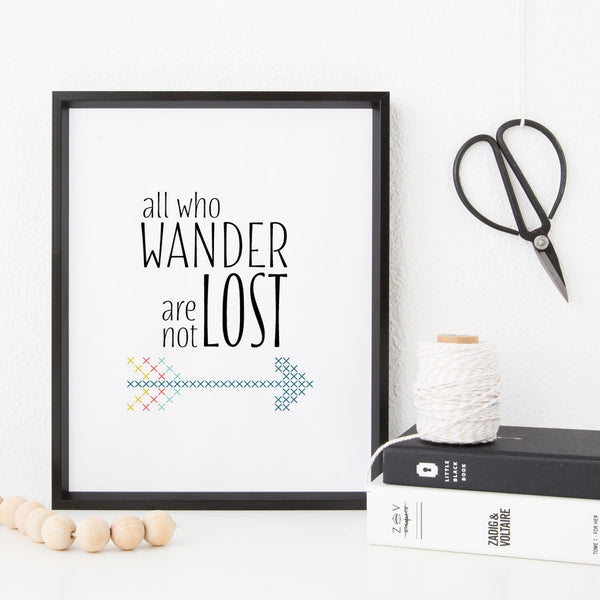 Stitchable Cross Stitch Art Print - All Who Wander