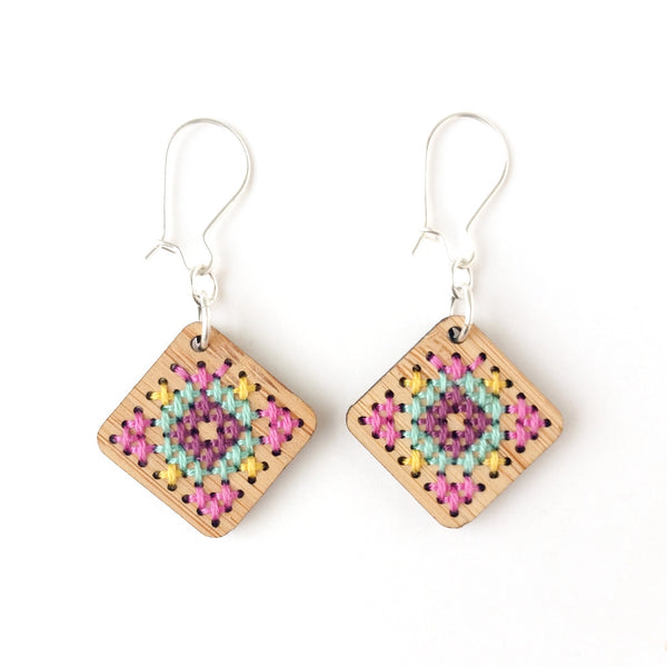 Cross Stitch Earring Kit - Bamboo Diamond