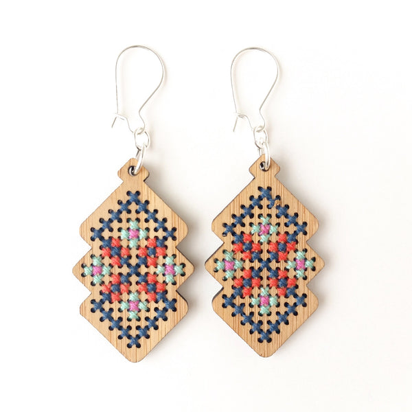Cross Stitch Earring Kit - Bamboo Interlocking Diamonds