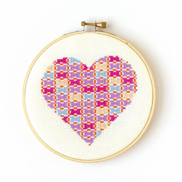 Cross Stitch Kit - Patchwork Heart