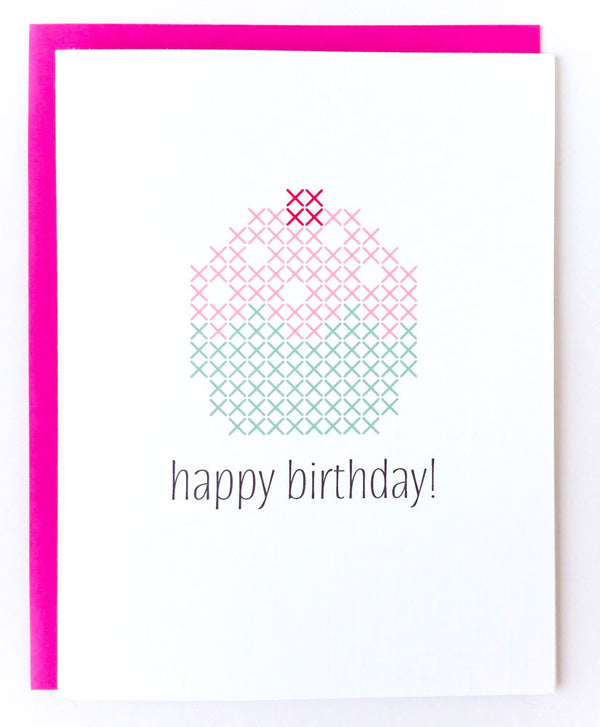 Stitchable Greeting Card - Happy Birthday