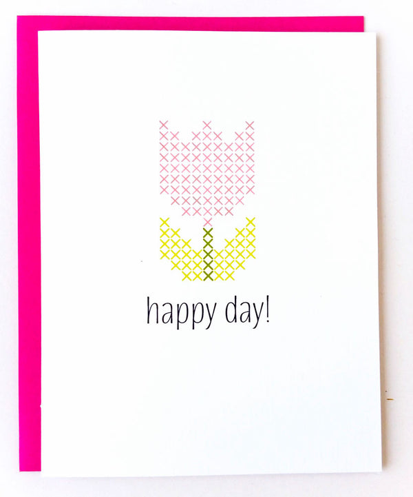 Stitchable Greeting Card - Happy Day