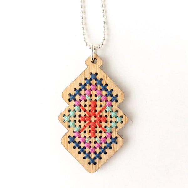 Cross Stitch Necklace Kit - Bamboo Interlocking Diamonds
