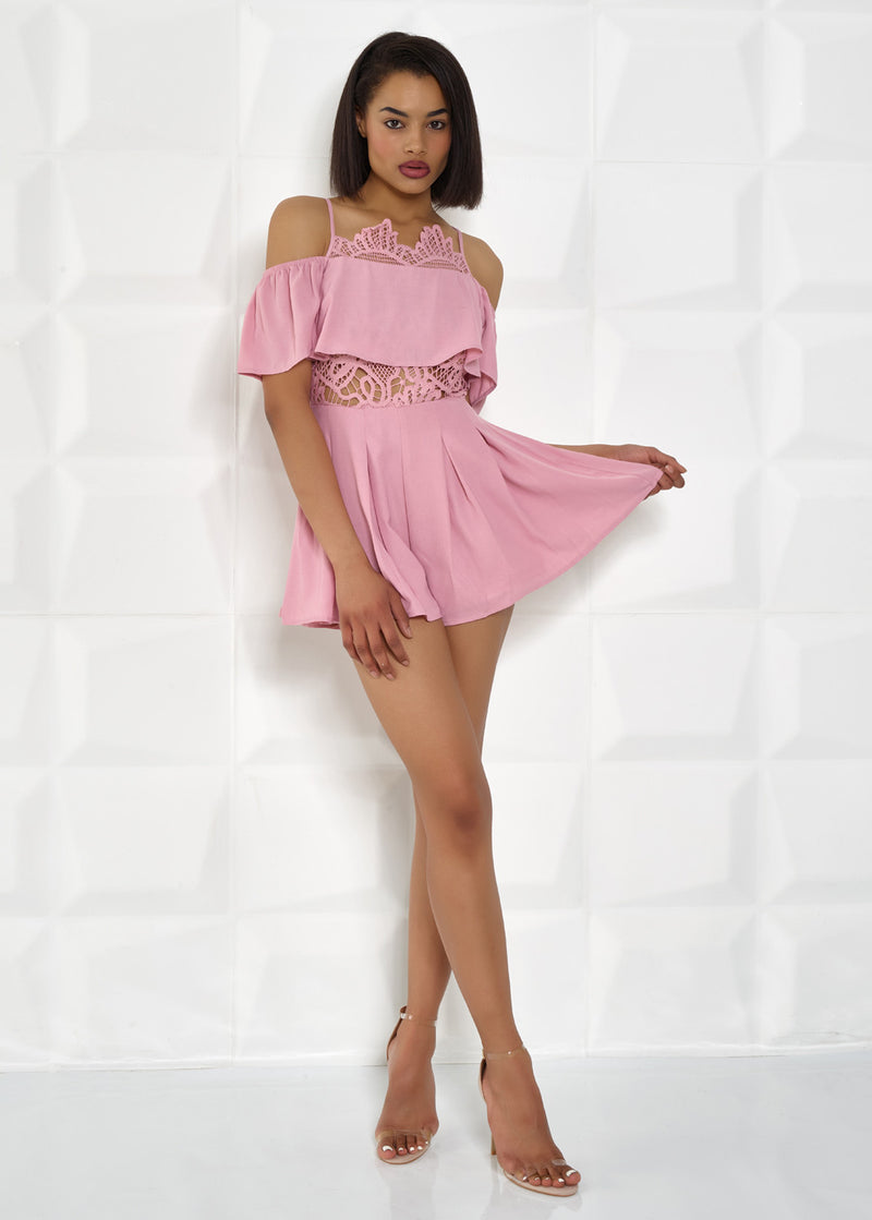 'MAISY' PINK, DETAILED, OFF SHOULDER PLAYSUIT