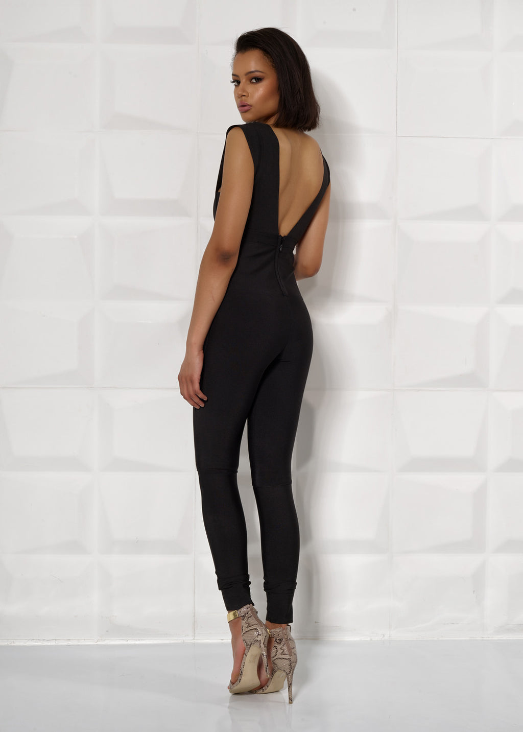 'LOUISA' BANDAGE, LOW V, JUMPSUIT