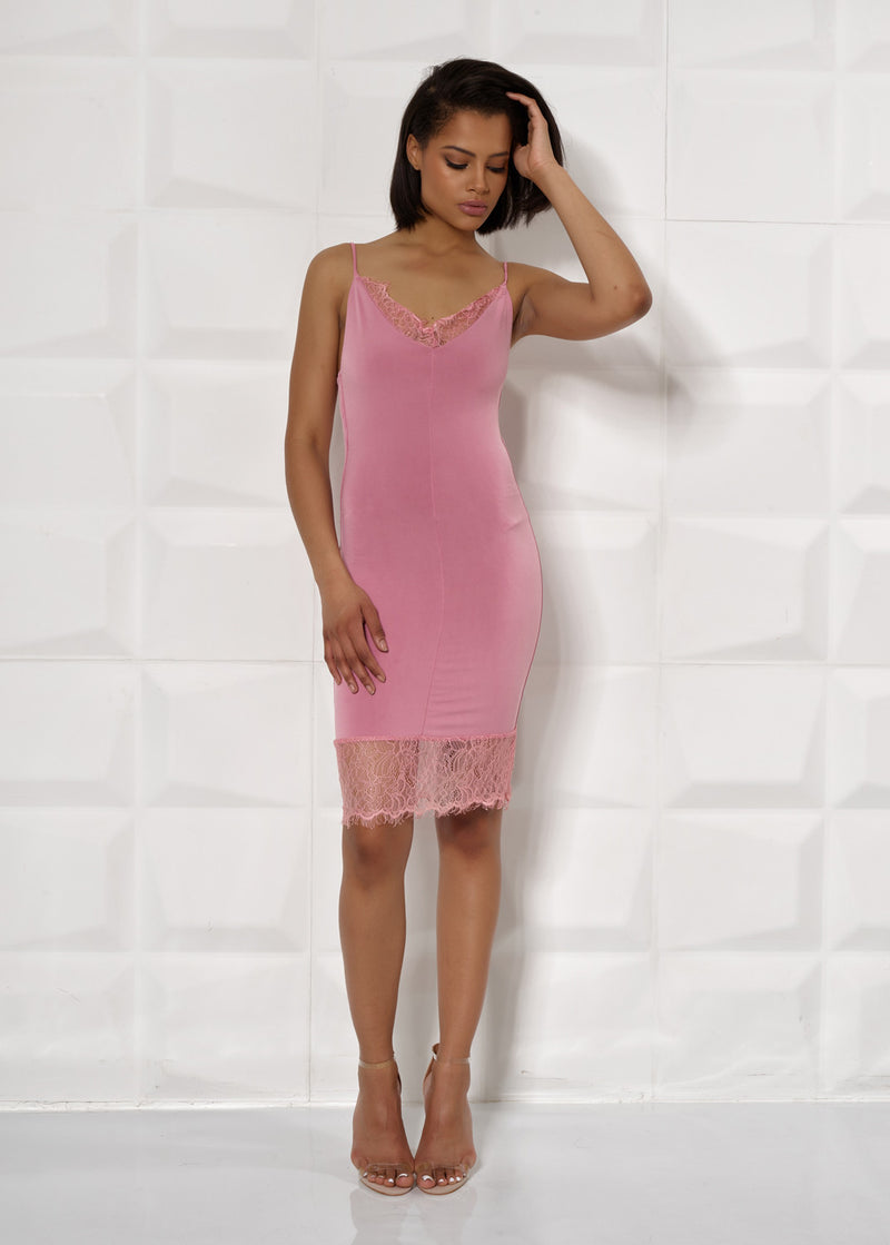 'EDEN' PINK, STRAPPY, BODYCON, LACE TRIM DRESS