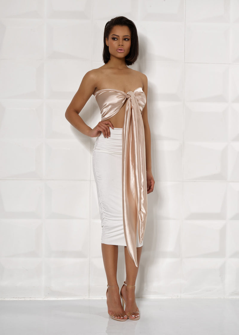 'FELICITY' GOLD AND WHITE, SATIN, TIE UP DRESS