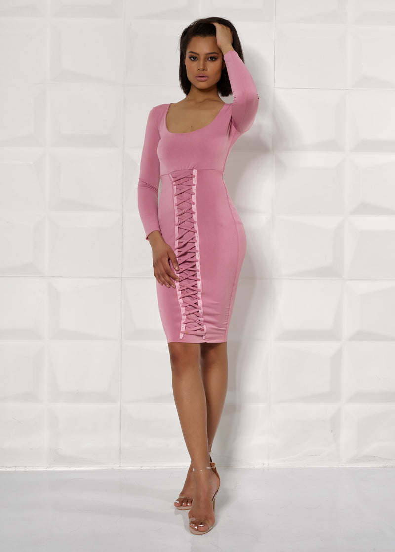 'FRANCESCA' PINK, LONG SLEEVE, FRONT LACE UP, BODYCON DRESS