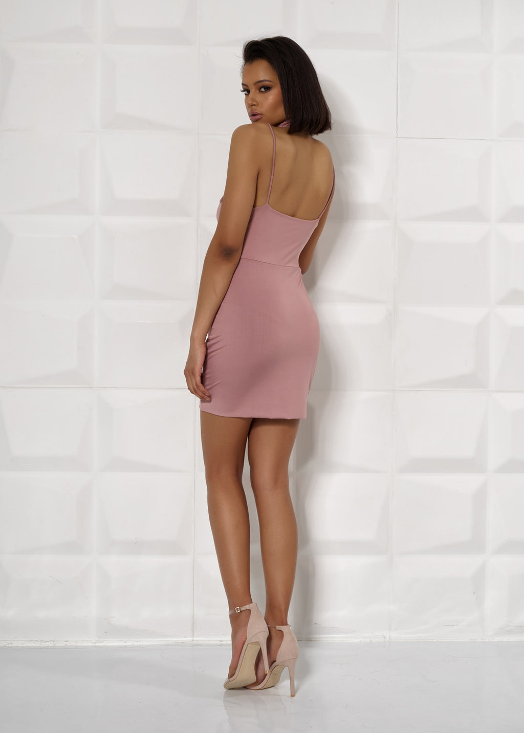'RAVEN' POWDER PINK, LACE UP LEG, MINI DRESS