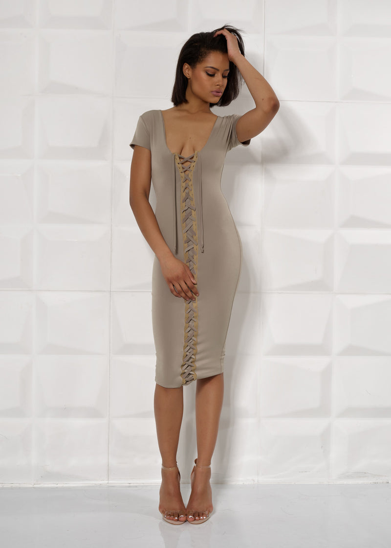 'JADE' RIBBON, LACE UP FRONT, PLUNGE, BODYCON DRESS