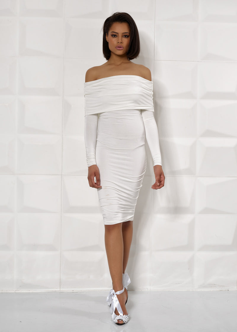 'DARCY' WHITE, LONG SLEEVE, OVERLAY, BODYCON DRESS