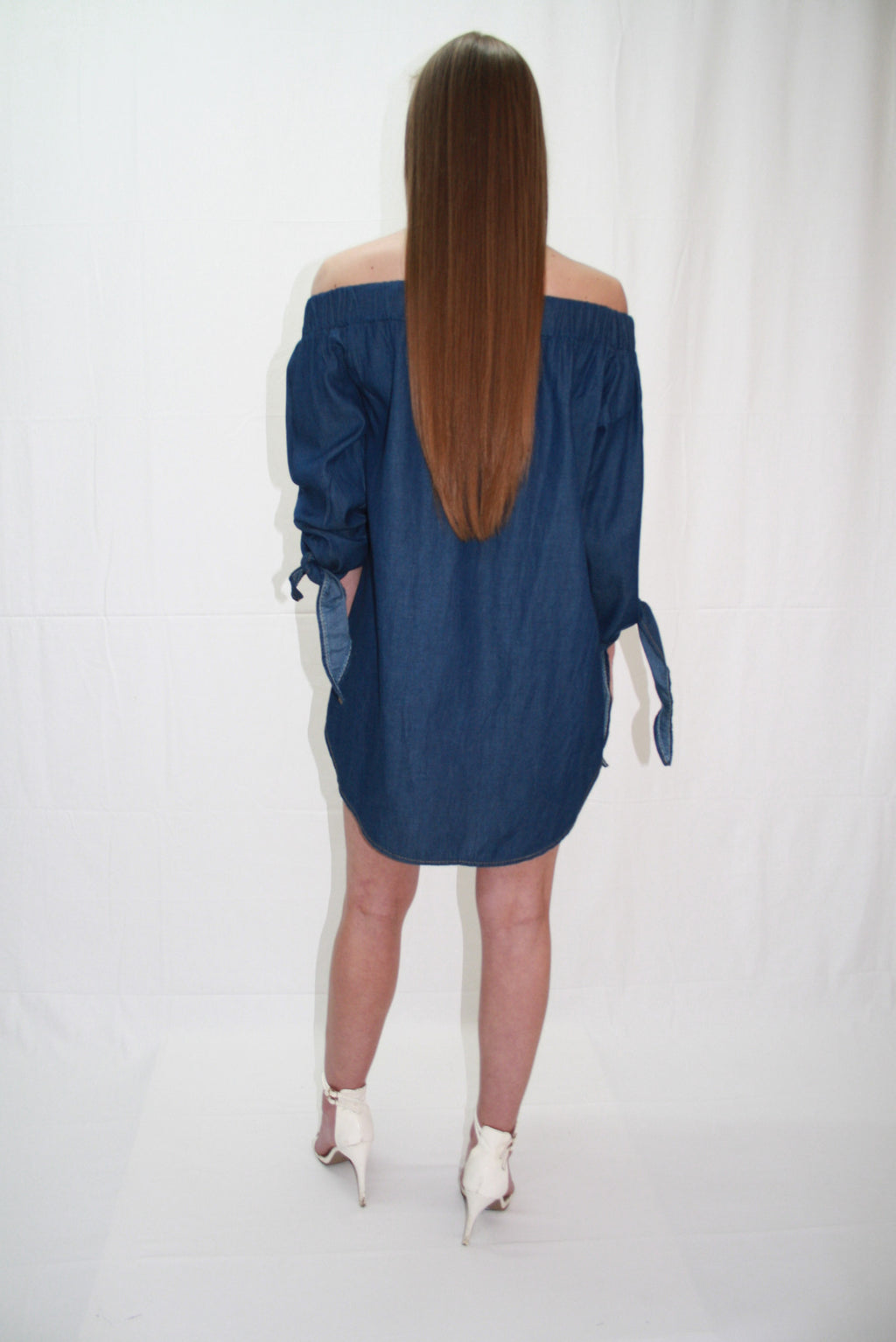 'TIA' DENIM, OFF THE SHOULDER, SHIFT DRESS