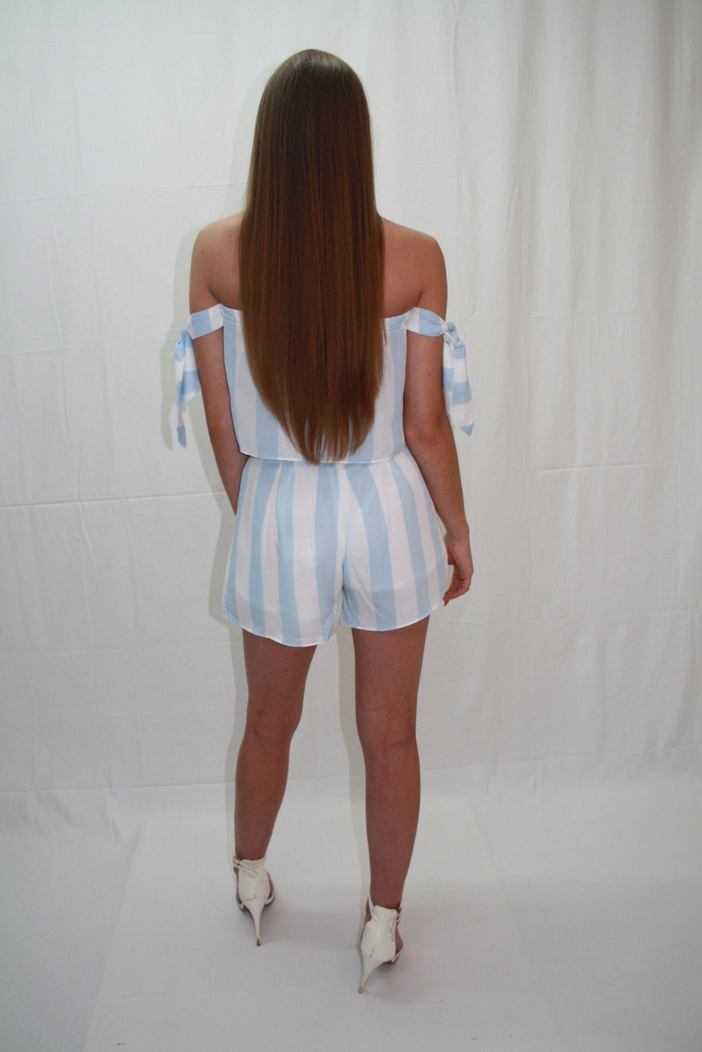 'LOLA' WHITE & BLUE, STRIPED TWO PIECE