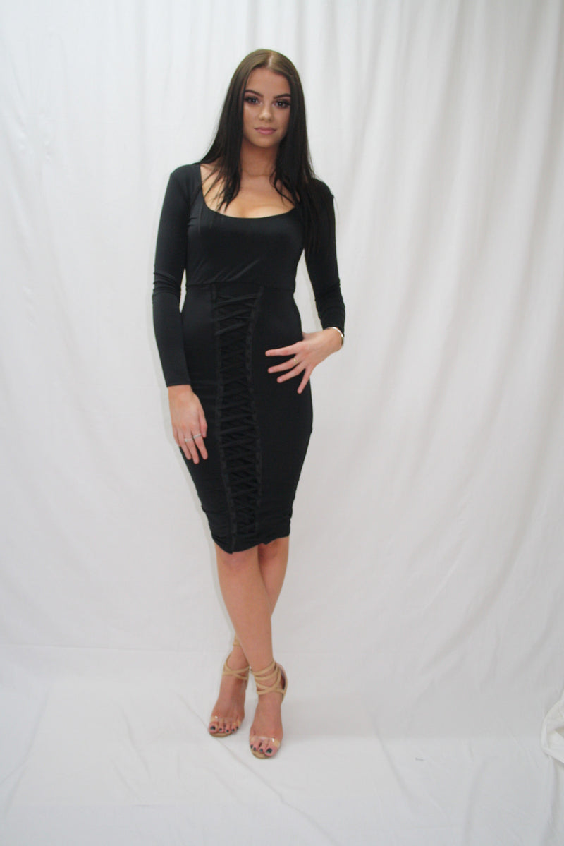 'FRANCESCA' BLACK, LONG SLEEVE, FRONT LACE UP, BODYCON DRESS