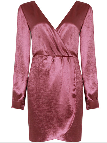 'SASHA' SATIN LONG SLEEVED WRAP DRESS