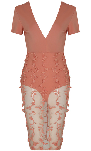 'ROSE' FLORAL CROCHET NETTED MIDI DRESS