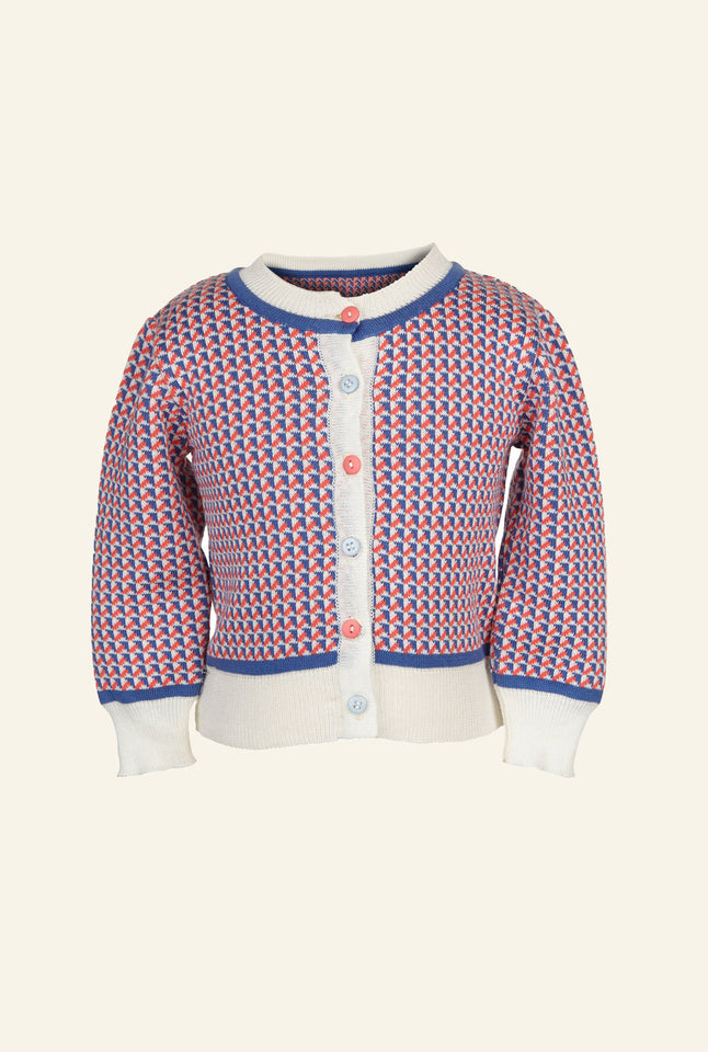 Children's Cardigan - Blue/Coral Fly Away