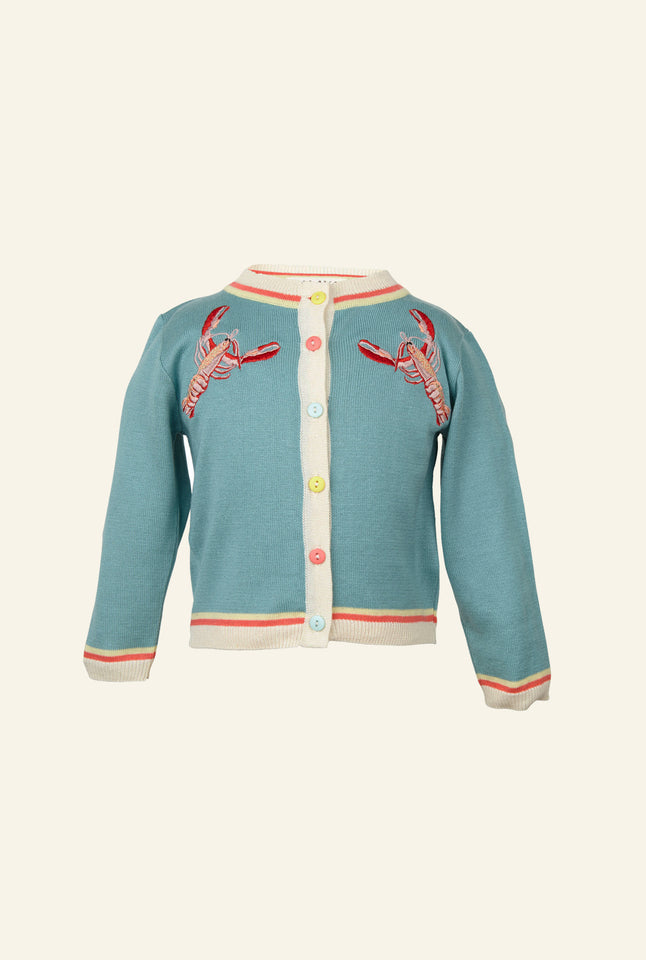 Children's Cardigan - Light Blue Embroidered Lobsters