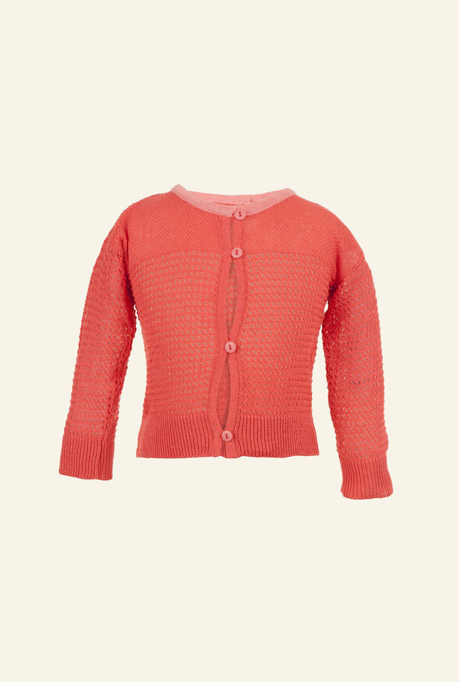 Children's Vintage Knit Cardigan - Hot Coral