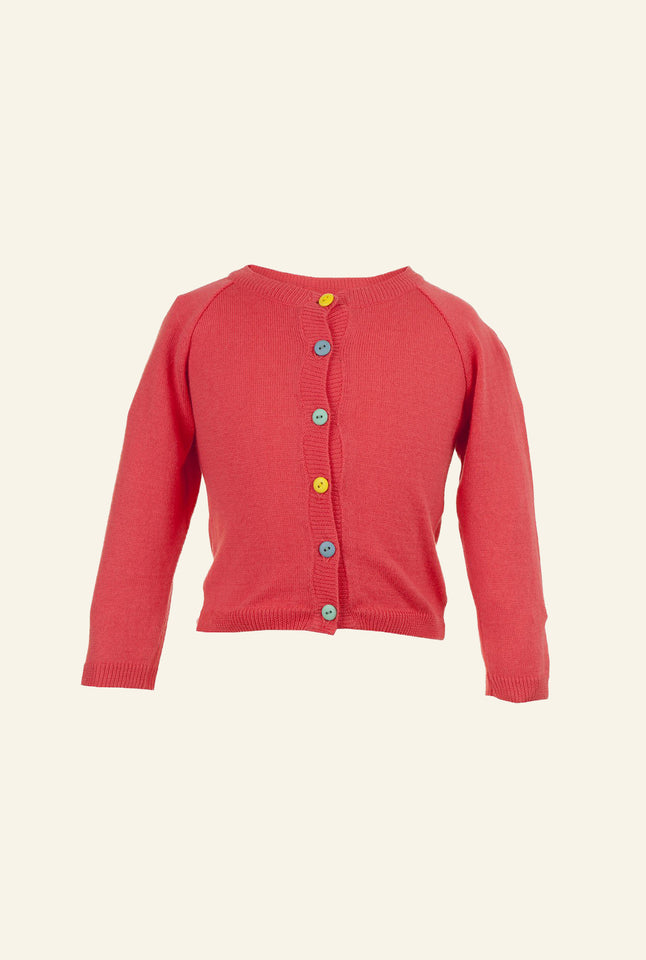 Children's Classic Cardigan - Raspberry