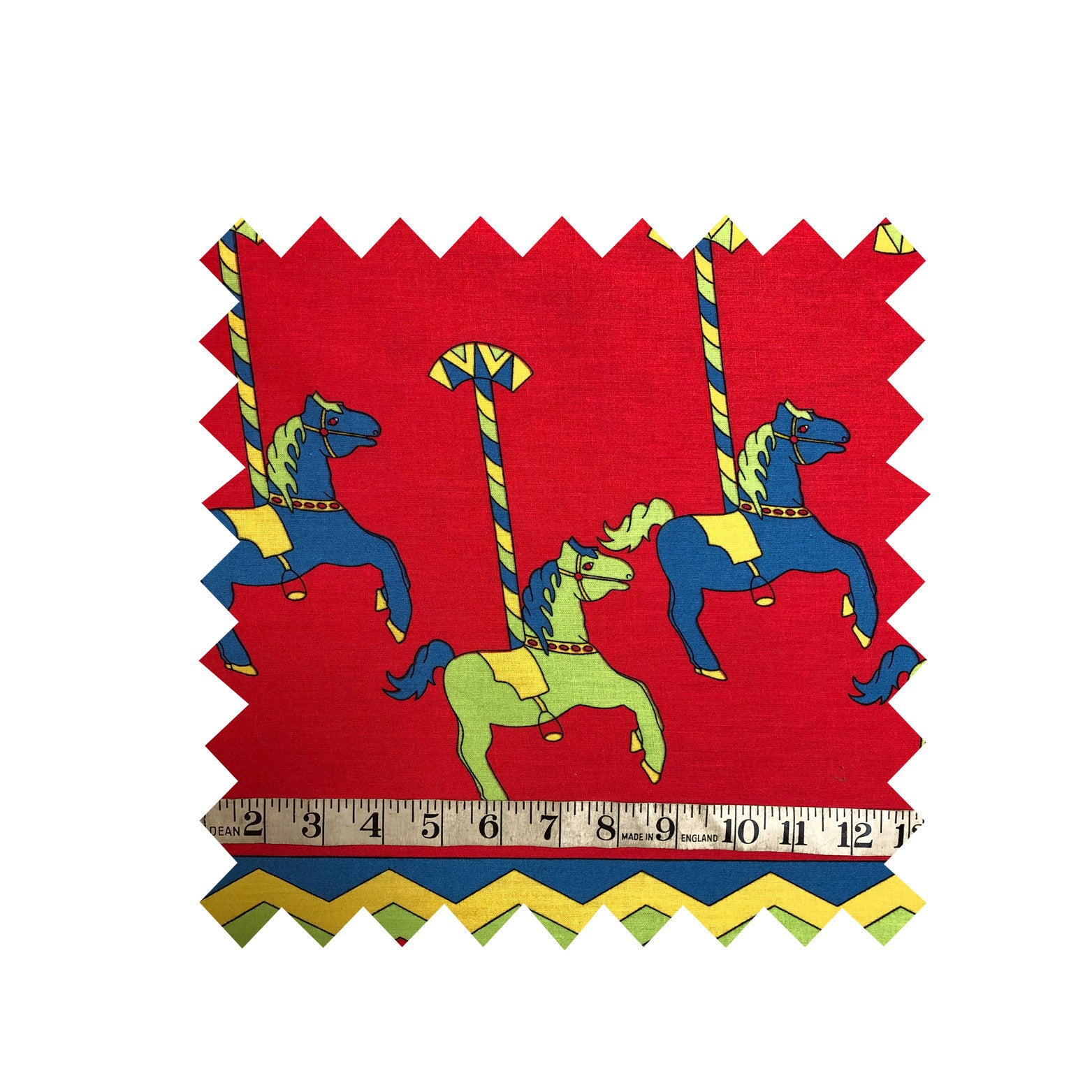 Red Carousel Print Fabric
