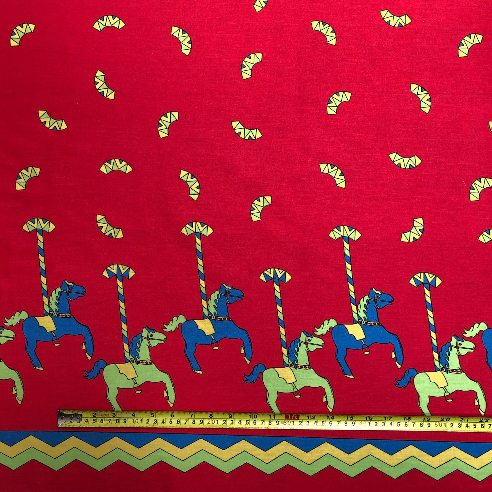 Red Carousel Print Fabric - Cotton