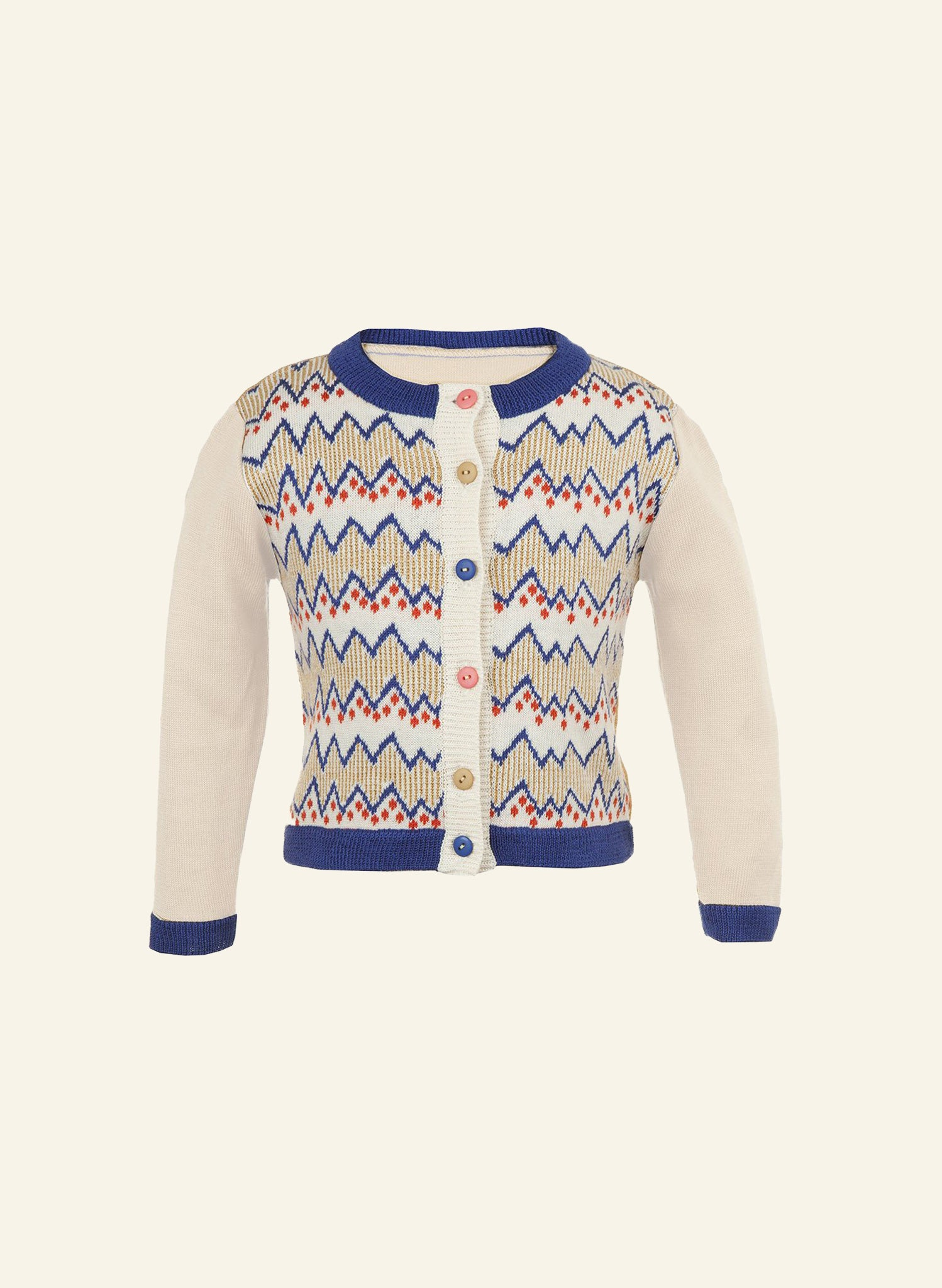 Children's Cardigan - Cream Zig Zag