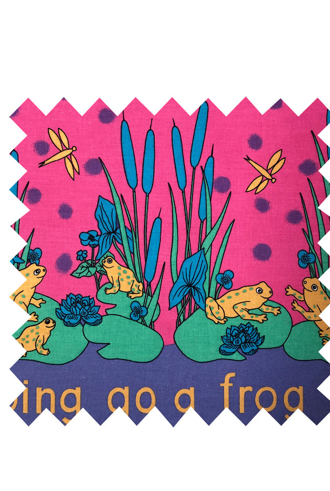 Pink Frog Lily Print Fabric - Cotton