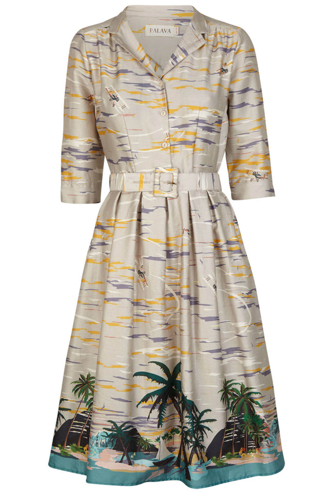 Cynthia - Desert Island Print Long-sleeved Shirt Dress for Women