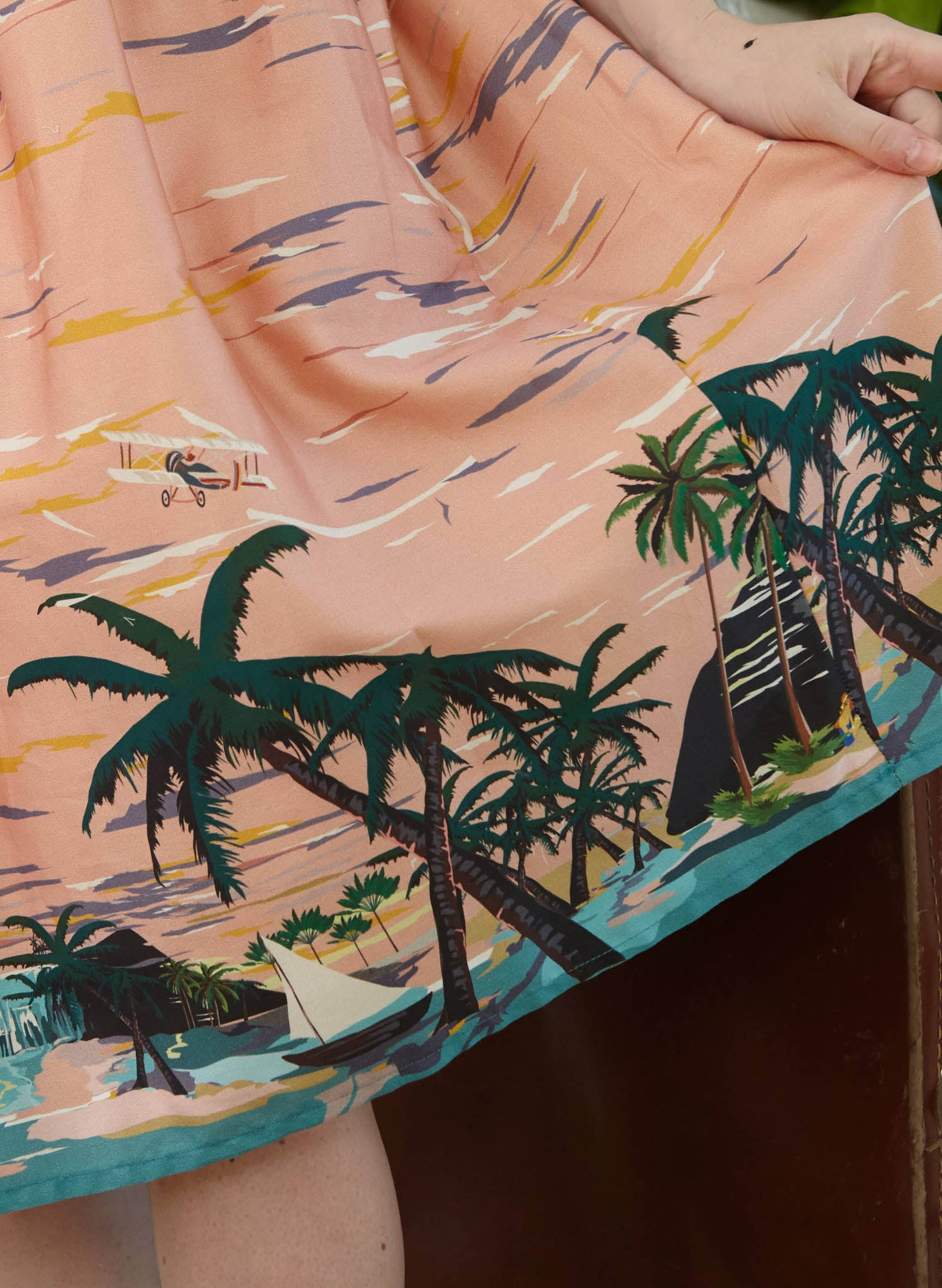 Ada - Pink Desert Island Print Tropical  Summer Skirt