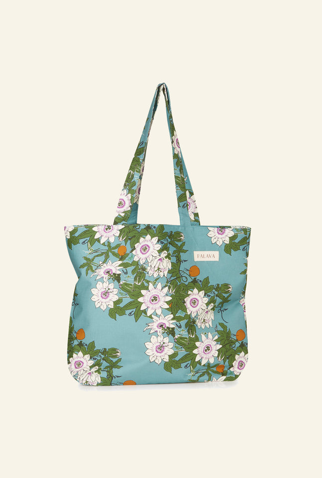 Large Shopper - Teal Passionflower