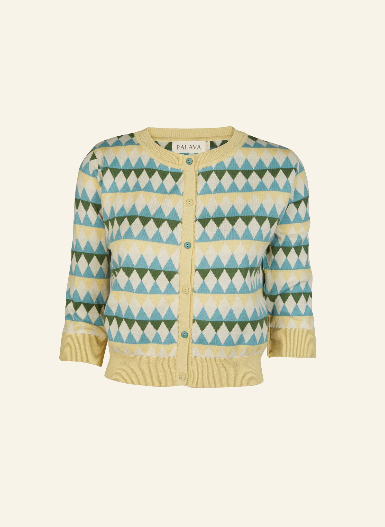 Organic Cotton Classic Cardigan - Lemon Teal Harlequin