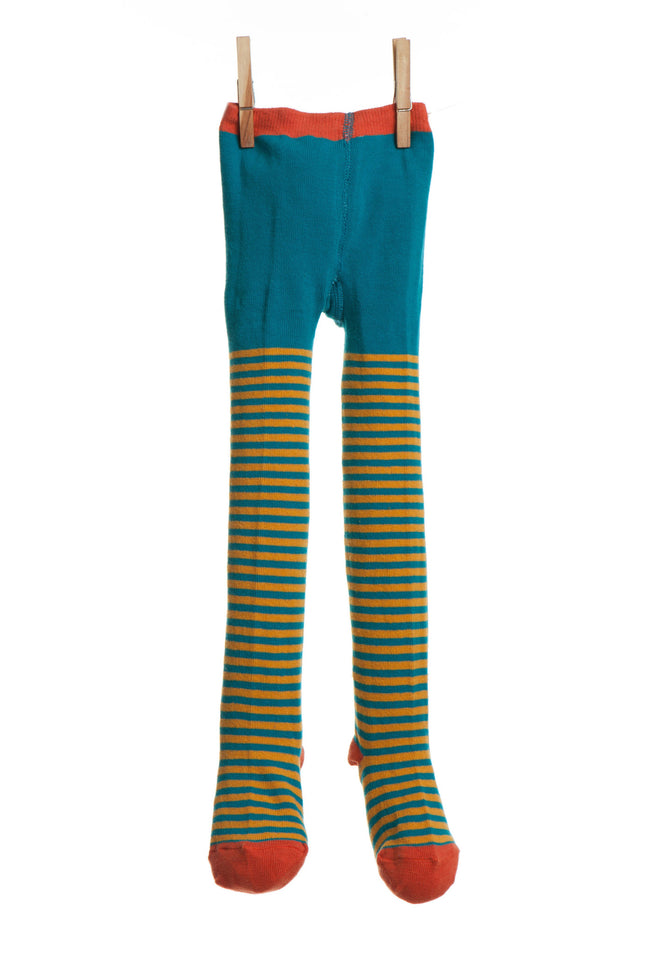 Children's Tights - Teal/Mustard Stripe - Palava