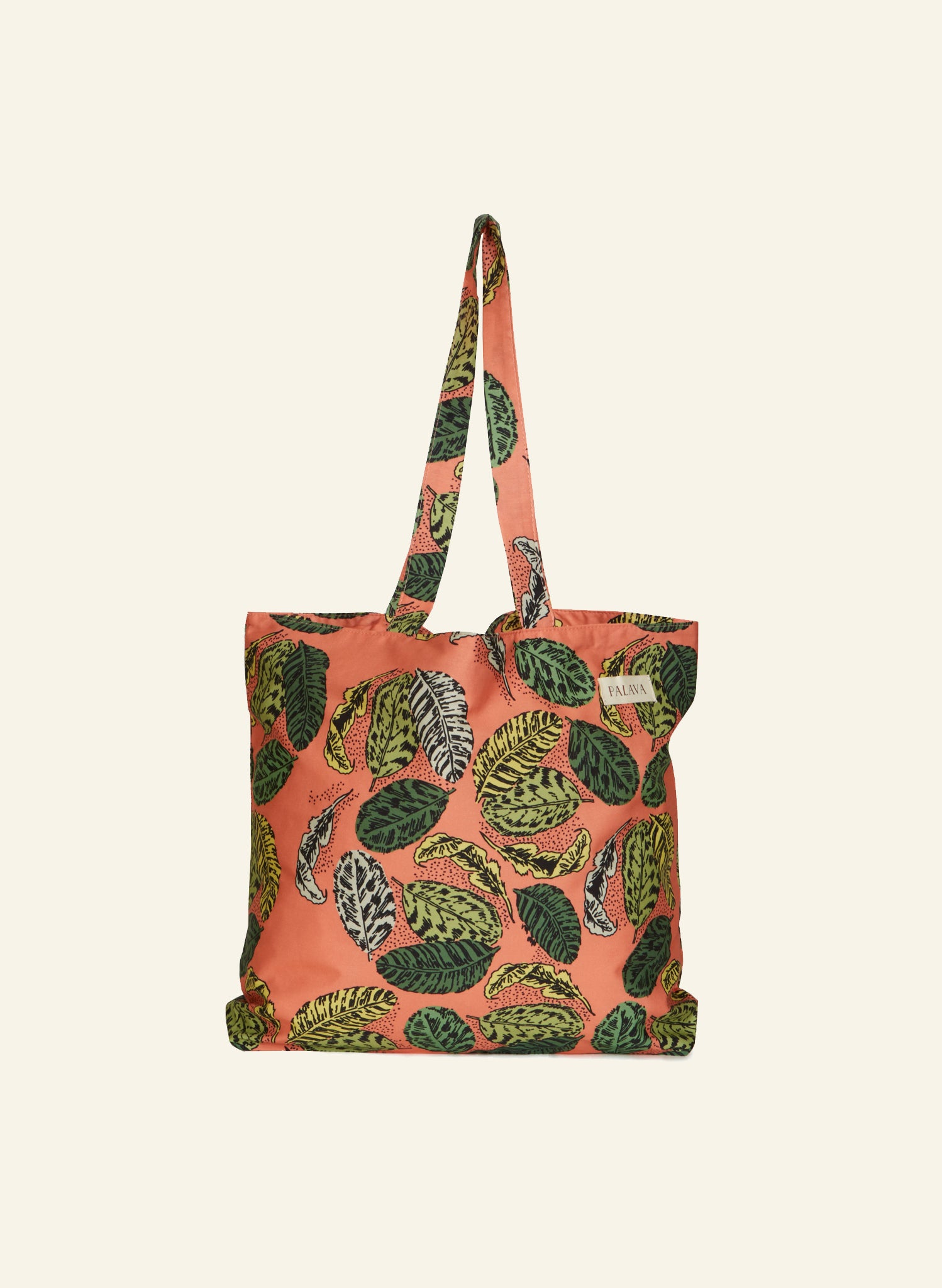 Large Shopper - Coral Zebra Leaf